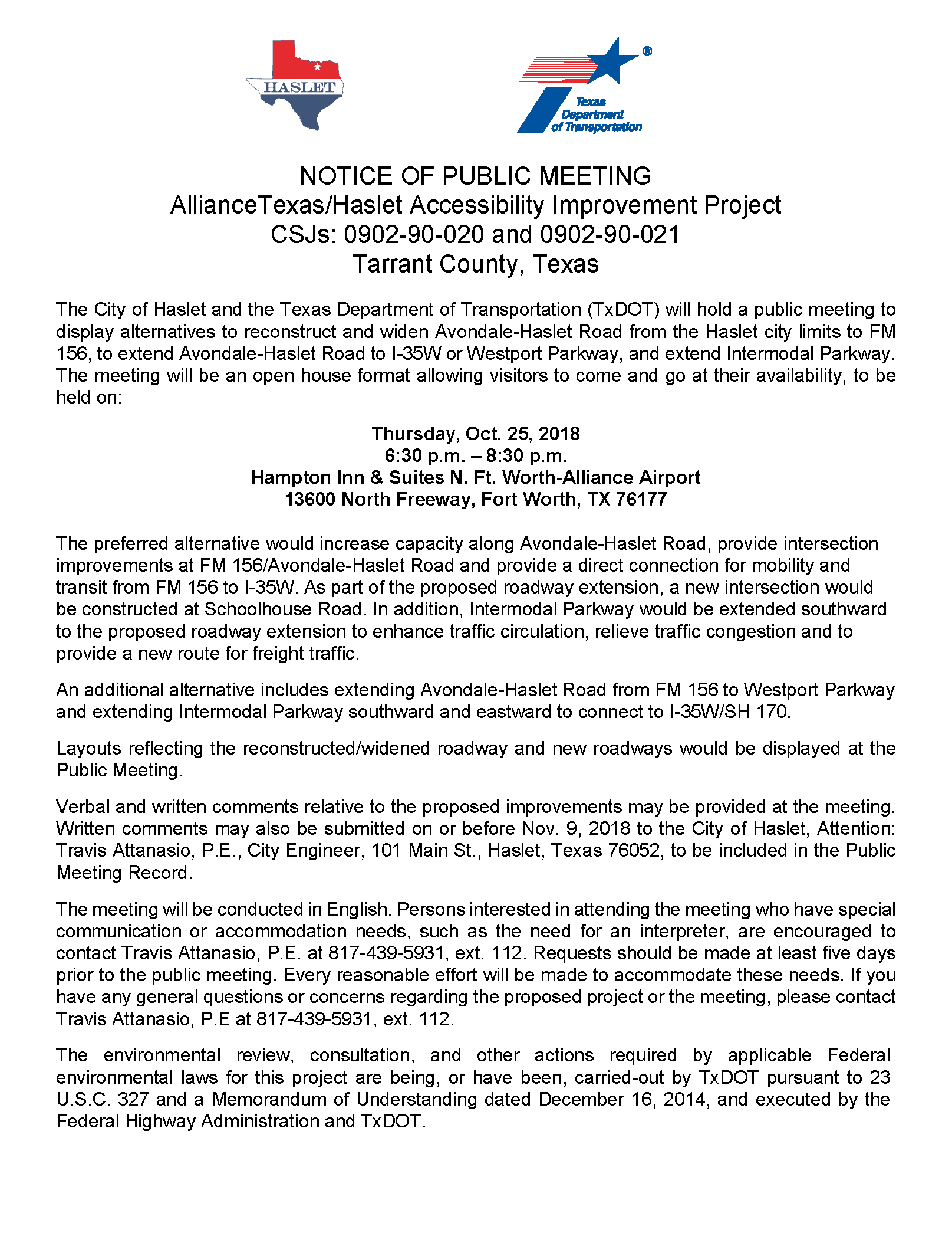 Public Meeting Flyer and Notice_Avondale_Haslet_Combined_Page_1