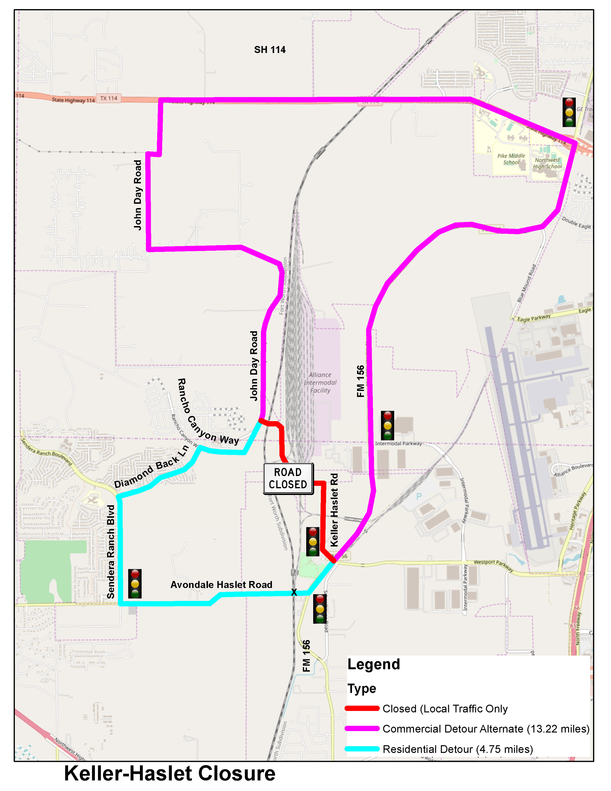 Keller Haslet Detour Map 2021 Road Closure