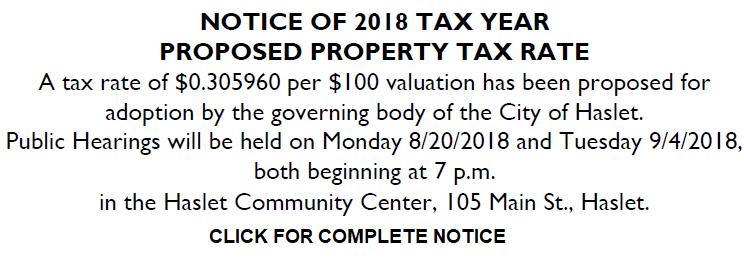 NOTICE OF 2018 TAX YEAR PROPOSED PROPERTY TAX RATE